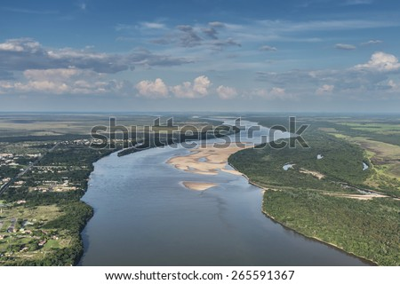 Aerial view of rainforest at the Rio Branco River on the state of Roraima  - stock photo