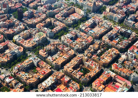 Aerial view  of  residence districts in european city. Eixample  district. Barcelona,  Spain - stock photo