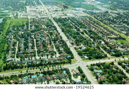 Aerial view of  residential area. Ontario, Canada. Summer time. - stock photo