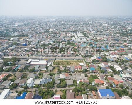 Aerial view of residential neighborhood in Bangkok, Thailand - stock photo