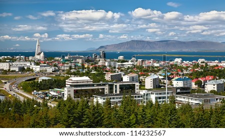 Aerial view of Reykjavik, capital of Iceland, from the top of Perlan - stock photo