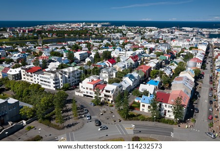 Aerial view of Reykjavik, capital of Iceland, from the top of the Hallgrimskirkja church - stock photo