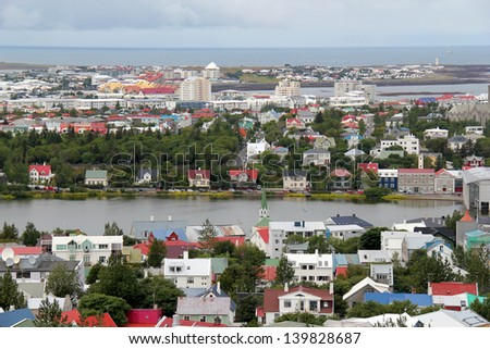 Aerial view of Reykjavik city, capital of Iceland. - stock photo