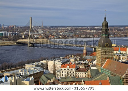 Aerial view of Riga center and river Daugava  from St. Peter's Church, Riga, Latvia - stock photo