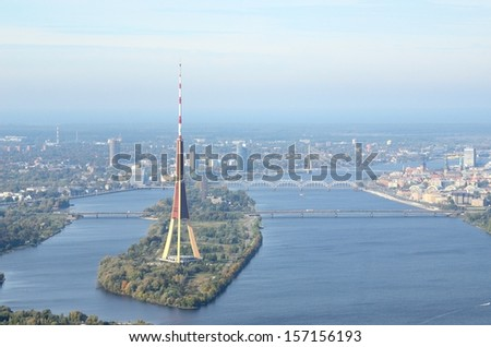 Aerial view of Riga center and television tower - stock photo