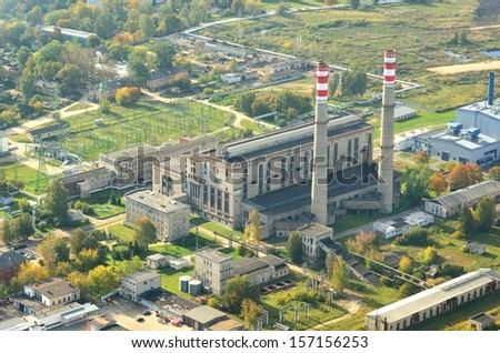 Aerial view of Riga heat and power central - stock photo