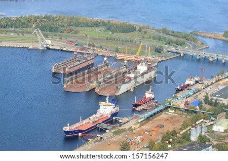 Aerial view of Riga shipyard - stock photo
