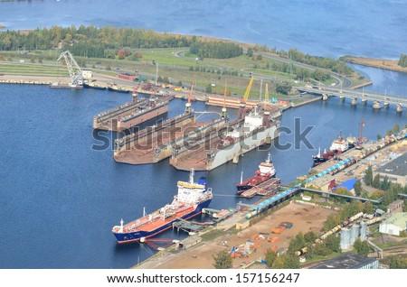 Aerial view of Riga shipyard - stock photo