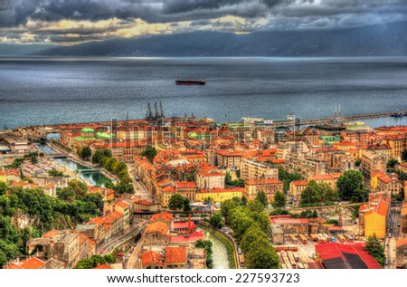 Aerial view of Rijeka, Croatia - stock photo