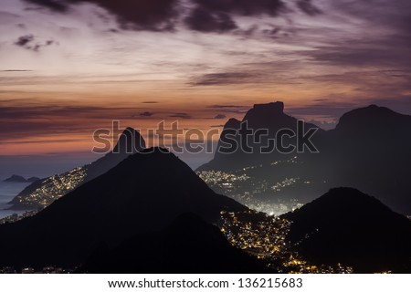 Aerial view of Rio De Janeiro,Brazil - stock photo