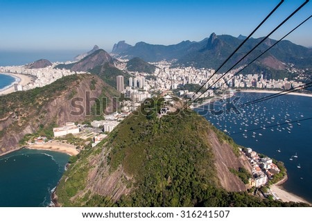 Aerial View of Rio de Janeiro from the Sugarloaf Mountain - stock photo