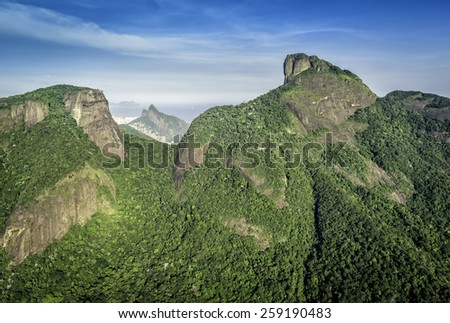 Aerial view of Rio de Janeiro's Pedra da Gavea Mountain, Brazil - stock photo
