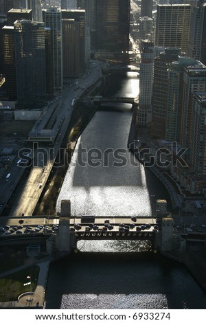 Aerial view of river with bridges in Chicago, Illinois. - stock photo