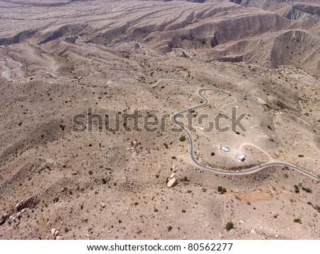 Aerial view of Road through atlas mountains. - stock photo