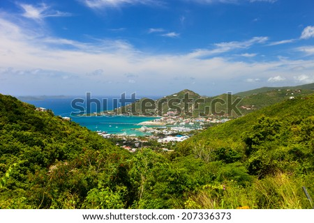 Aerial view of Road town on Tortola the capital of British Virgin islands - stock photo
