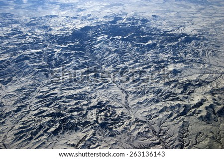 Aerial view of Rocky Mountains in British Columbia, Canada - stock photo