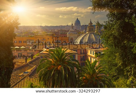 Aerial view of Rome and St Peter basilica, Italy - stock photo