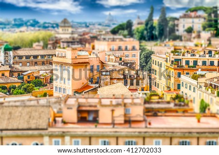 Aerial view of Rome city centre from the Palatine Hill, Italy. Tilt-shift effect applied - stock photo