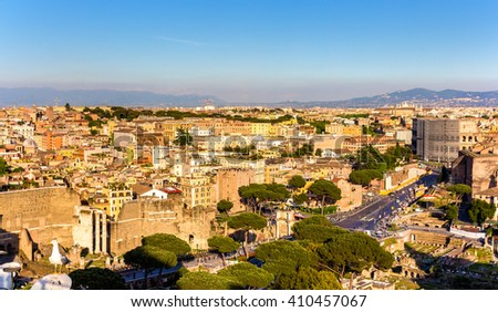 Aerial view of Rome with Colosseum - Italy - stock photo