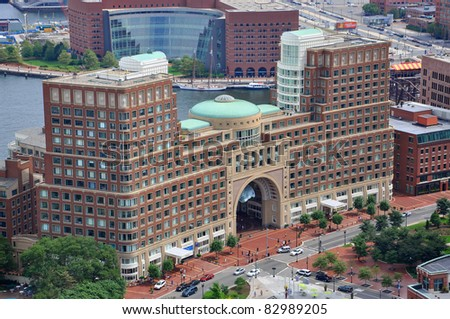 Aerial view of Rowes Wharf from Custom House, Boston, Massachusetts, USA - stock photo