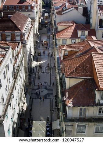 Aerial view of Rua Augusta - Lisbon (Portugal) - stock photo