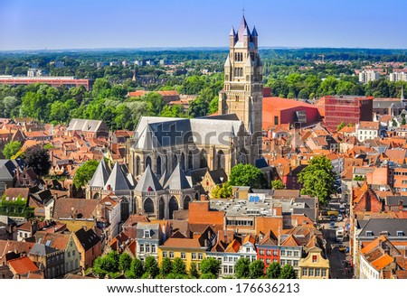 Aerial view of Saint Salvator Cathedral, Old Town of Bruges, Belgium - stock photo