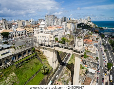 Aerial view of Salvador City and Lacerda Elevator in Bahia, Brazil - stock photo