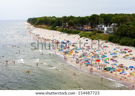 aerial  view of sandy polish beach on Baltic sea - stock photo