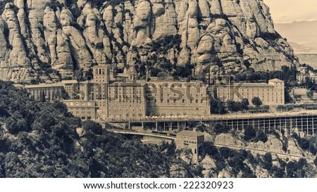 Aerial view of Santa Maria de Montserrat Monastery in Catalonia, Spain  - stock photo