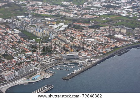 Aerial view of Sao Miguel Island (Azores, Portugal). - stock photo