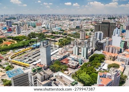 Aerial view of Sao Paulo, Brazil - stock photo