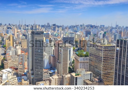 Aerial view of Sao Paulo, Brazil. Big city skyscrapers. - stock photo