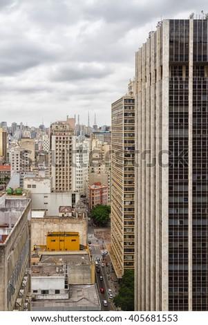 Aerial view of Sao Paulo skyline, Brazil. - stock photo