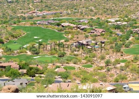 Aerial View of Scottsdale, Arizona from the Top of Pinnacle Peak Mountain  - stock photo