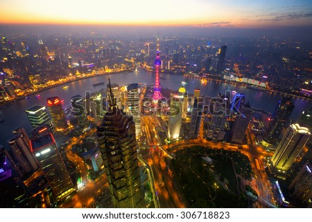 Aerial view of Shanghai at dusk, China - stock photo