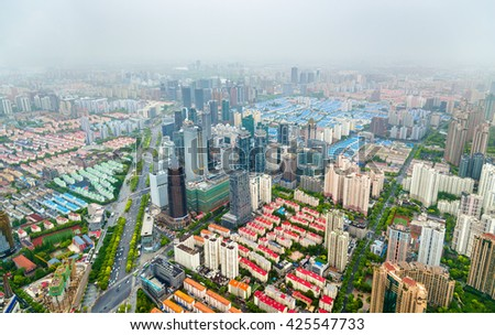 Aerial view of Shanghai city centre - China - stock photo