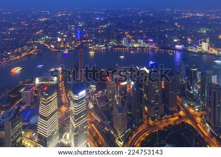aerial view of shanghai lujiazui finance - stock photo