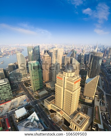 aerial view of shanghai lujiazui financial center from the oriental pearl tv tower - stock photo