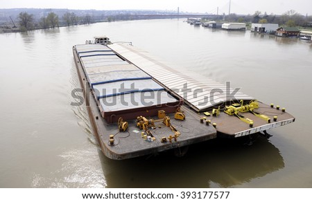 Aerial view of  ship sailing on river - stock photo