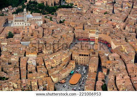 Aerial view of Siena city, i Tuscany Italy - stock photo