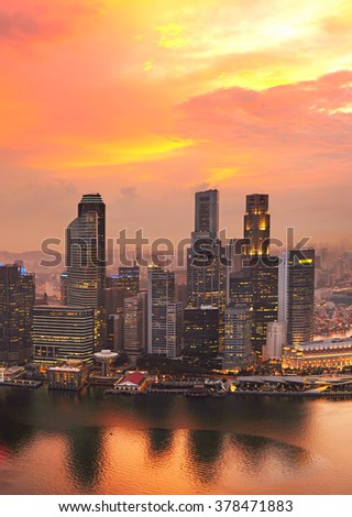 Aerial view of Singapore Downtown at sunset - stock photo