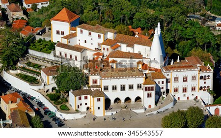 Aerial View of Sintra National Palace in Sintra, Portugal. It is the best preserved medieval Royal Palace in Portugal, from being inhabited from the early 15th century to the late 19th century - stock photo