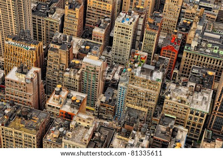Aerial view of sky scrapers and buildings in Manhattan, New York, USA - stock photo