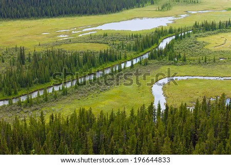 Aerial view of small river flowing through green marshy riparian wetland landscape in Alberta foothills, Canada - stock photo