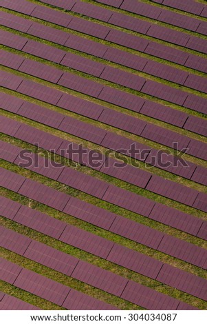 Aerial view of solar power plant in germany - stock photo