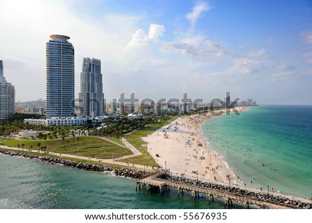 Aerial view of South Miami Beach - stock photo