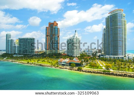 Aerial view of South Miami Beach, park and skycrappers at sunny day - stock photo