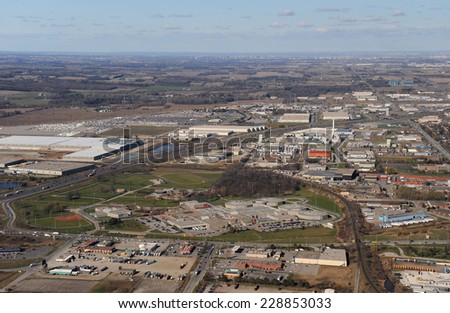 Aerial view of southern Ontario - stock photo