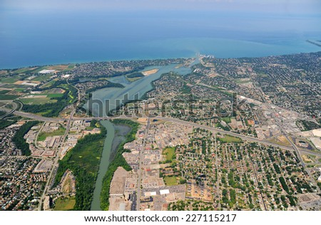 Aerial view of Southern Ontario in sunny day - stock photo