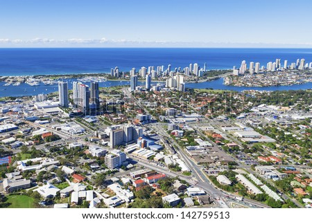 Aerial view of Southport, Queensland, Australia - stock photo